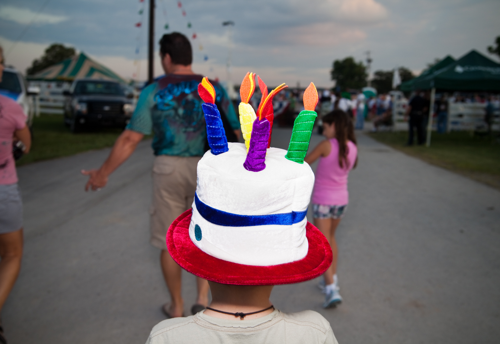 Boy with cake and candles hat, costume, Wilson County Fair, Lebanon, Tennessee, carnival, amusement park, rural south