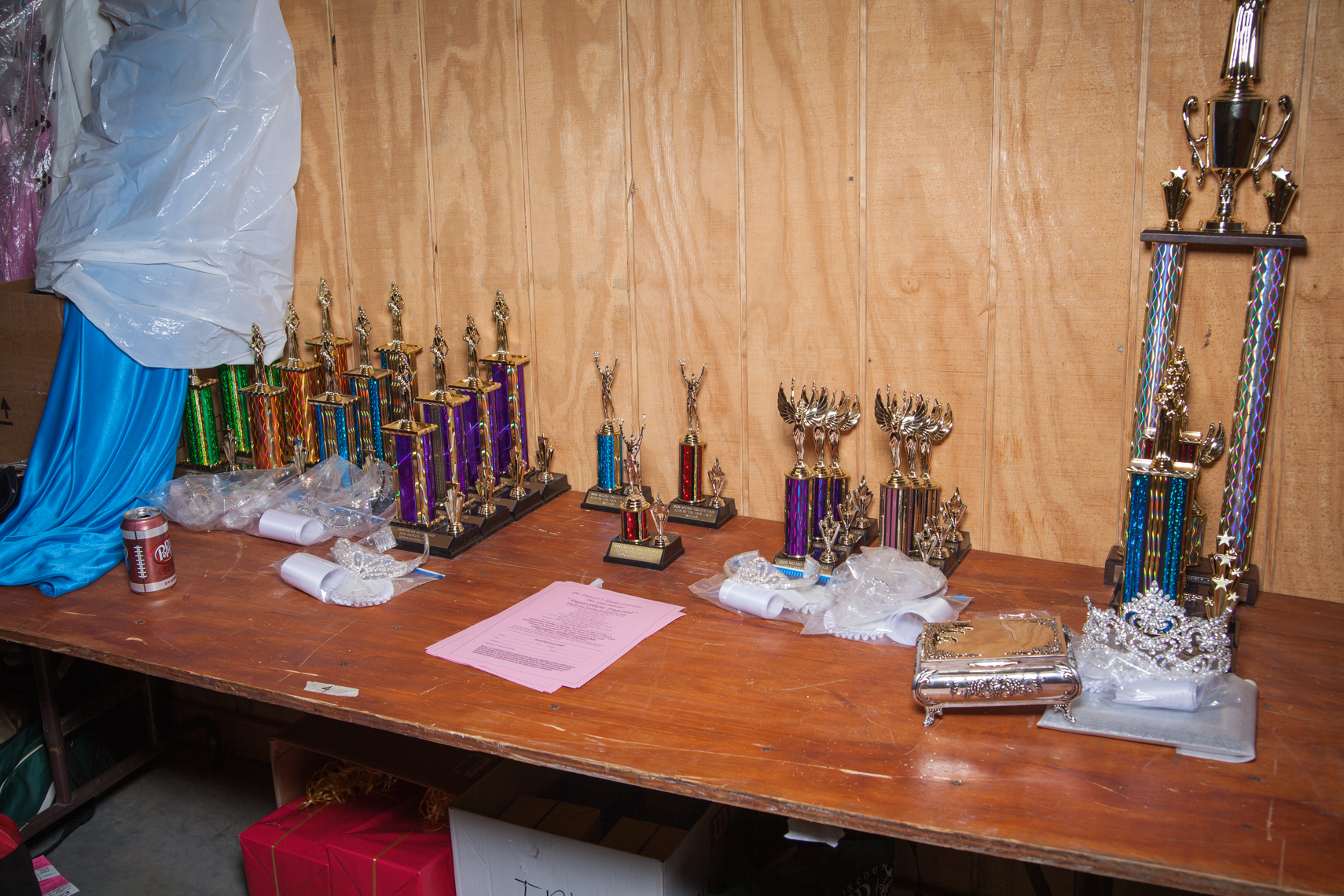 Beauty patent and talent show contest trophies, Wilson County Fair, Lebanon, Tennessee